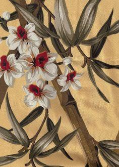 Hawaiin Barkcloth www. Vintage Fabrics, Vintage Patterns, Vintage Designs, Tropical Design, Tropical Decor, Tropical Prints, Plant Illustration, Pattern Illustration, Graphic Patterns
