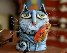 Small Sculptures, Animal Sculptures, Dragon Cat, Clay Cats, Pottery Animals, Plaster Art, Polymer Clay Ornaments, Paper Mache Crafts, Ceramics Projects