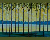 """36"""" Original Modern Abstract Palette Knife Painting Gallery Wrapped Canvas Tree Branches Landscape Tress Wall Decor """"The New Beginning"""""""