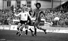 Wales 0 West Germany 2 in May 1979 in Wrexham. George Berry marks Karl-Heinz Rummenigge in the Euro '80 qualifier