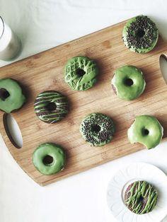 Baked Matcha & Cocoa Donuts (with Matcha Ganache)