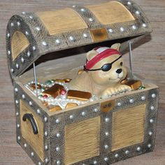 Ceramic Pirate Treasure Chest Cat Eye Patch Surrounded by Jewels 12 inch Decor #LGSource