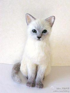 羊毛毡- needle felted cat