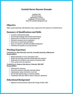 Bartender Resume Template Waitress Resume Skills Examples Server Describe  Server Position Resume Server Position Resume Description  Resume Server Description