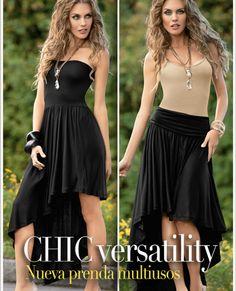 Blusa Chic Versatility Tania 9117 Prenda Multiuso confeccionada en viscosa, para usar en 3 estilos diferentes, vestido strapless, falda o blusa, para que la luzcas como más te agrade. CH,MED,GDE,XG Precio $ 389.00 no incluye envio