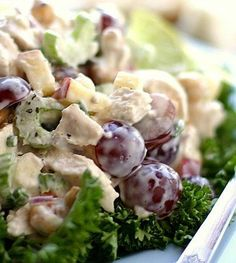 Recipe for Chicken Salad with Grapes Cashews Apples and Fresh Dill - The flavors and textures of this chicken salad are splendid. Serve on top of chopped Bibb lettuce, for a truly delicious brunch, lunch, or picnic dinner..