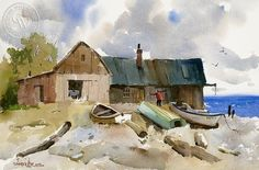 The Boat House, Mendocino, California art by Vernon Nye. HD giclee art prints for sale at CaliforniaWatercolor.com - original California paintings, & premium giclee prints for sale