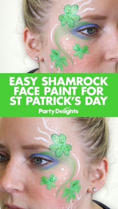 Find out how to do this easy shamrock face paint design for a St Patrick's Day party or Irish-themed party. Follow our simple step-by-step instructions and find more St Patrick's Day costume ideas on the Party Delights blog.