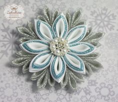 Frozen hair bow  Frozen Snowflake  White hair bow  by ZakolkinoCom
