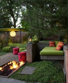 Inviting outdoor space with fire pit and lounger