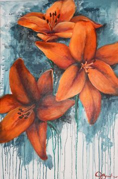 """""""Tiger Lilies"""" Original Painting: 2' x 3', acrylic paint. T.Bark.Art by Taylor Barker."""