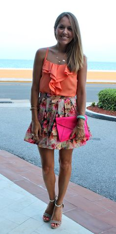The Full Skirt — J's Everyday Fashion - love the mixed coral and neon pink colors