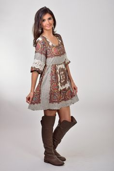 Umgee White Paisley Printed Peasant Dress with Lace on Sleeves