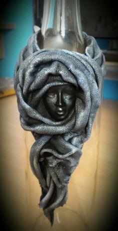 Fabric Art - Bottle Cuff by Heather's Craft Studio using Powertex and acrylic paints.