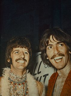 Richard Starkey and George Harrison George was and always will be my fave Beatle. John would be my second. then Ringo, then Paul. lol im not a McCartney fan, sorry. Beatles Love, Les Beatles, John Lennon Beatles, Beatles Art, Woodstock, Great Bands, Cool Bands, Liverpool, Music Rock