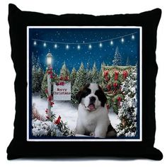 Saint Bernard Puppy Christmas Throw Pillow