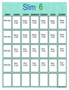 Slim in 6 Workout Calendar Vertical