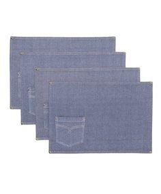 Look at this #zulilyfind! Denim Jeans Embellished Place Mat - Set of Four #zulilyfinds
