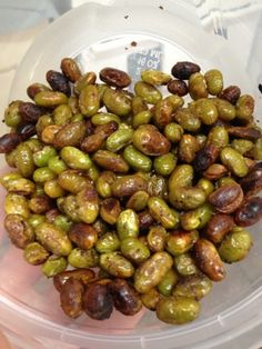 Roasted Edamame - great source of protein and fiber - a simple snack between larger meals. 2 cups shelled edamame, olive oil, salt & pepper. Roast on a baking sheet for 30 minutes at 375 degrees. Let cool completely and store in an airtight container.