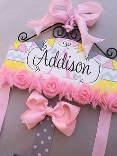 HAIR BOW HOLDER - Personalized - Pink Yellow Grey HairBow Holder - organizer for Bows - Bow and Clip hanger Personal chevron flags bird
