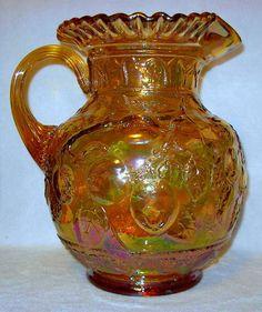 Vintage Fenton Glass Irridecent Marigold Carnival Apple Tree Pattern Pitcher  #Fenton