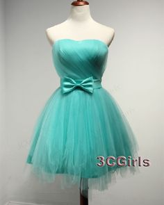 Prom dress short, unique ball gown for teens, 2016 simple green strapless short bridesmaid dress from #3cgirls #weddings http://www.3cgirls.com/#!product/prd1/4274729735/simple-green-strapless-short-bridesmaid-dress