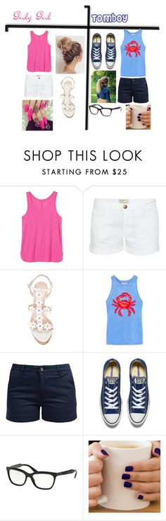 """""""Girly Girl vs Tomboy"""" by atomic-curly-fries ❤ liked on Polyvore featuring Banana Republic, Current/Elliott, Oscar de la Renta, Tory Burch, Barbour, Converse and Prada"""