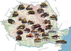 "Traditional houses in rural Romania (case traditionale romanesti) *** Upon arriving in her new home country in the young wife of Prince Carl of Romania noticed in her writings: ""Every R… Romania Map, Visit Romania, Romanian People, Rural House, Vernacular Architecture, Bucharest, Coat Of Arms, Traditional House, Old Houses"