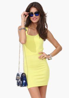 bae92ea69 Double spaghetti strap back cutout racerback slim hip one-piece dress