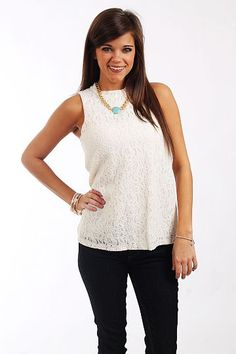 """Floral Lace Tank, Ivory $36.00  OMG, we are dying over this tank! This fully lined piece is lace on the front and silky on the back and we love the exposed zipper! Since this piece is solid you can accessorize it however you'd like!   Fits true to size. Miranda is wearing a small.   From shoulder to hem:  Small - 24""""  Medium - 25""""  Large - 26"""""""
