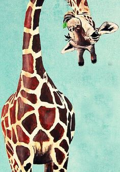 New Hand Painted Modern Animal Oil Painting on Canvas Giraffe Art for Home Decoration or Best Gifts to Children