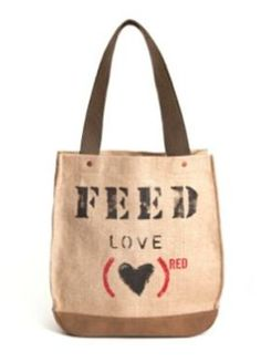 FEED Love bag from project (RED) - a purchase helps provide food and medicine to someone for 30 days.