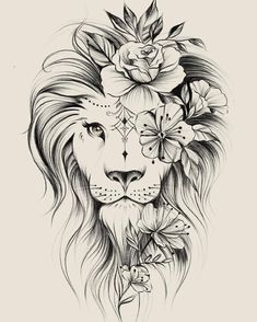 Image could contain: drawing – flower tattoos – best tattoo – flower tattoos designs - tatoo feminina Kunst Tattoos, Leo Tattoos, Bild Tattoos, Cute Tattoos, Beautiful Tattoos, Body Art Tattoos, Tatoos, Awesome Tattoos, Portrait Tattoos