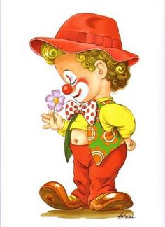 Art Drawings For Kids, Colorful Drawings, Cute Drawings, Clown Mignon, Clown Crafts, Pierrot Clown, Clown Party, Elephant Quilt, Cute Clown