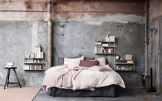 Our post has some of the best space saving ideas for your small bedroom. Small bedroom decorating doesn't need to be difficult, use our 65 ideas to make your room seem larger and cozier at the same time! Home Bedroom, Bedroom Decor, Bedroom Ideas, Bedroom Small, Bedroom Inspiration, Bedroom Signs, Bedroom Rustic, Trendy Bedroom, Industrial Bedroom Design
