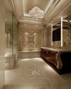 Luxury Master Bathroom -Charles Neal Interiors - classic!