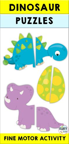 Are you looking for Dinosaur themed printables? This Dinosaur Puzzle Printable is perfect for you! Have your kids cut the adorable dinosaurs and paste the pieces together. It'd be so much fun! Great for independent activity. Dinosaur Head, Dinosaur Puzzles, Dinosaur Printables, Dinosaurs Preschool, Dinosaur Activities, Toddler Learning Activities, Motor Activities, Preschool Ideas, Teaching Ideas