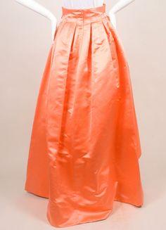 Christian Dior Coral Silk Full Ball Skirt Backview
