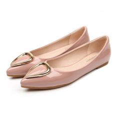 Ox Horn Metal Pointed Lowcut Women Thin Shoes pink