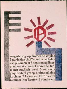 Werkman - Invite to the meeting of De Ploeg ( Art collective of Groningen), 1926 Avant Garde Artists, Dutch Painters, Dutch Artists, Letterpress, Amsterdam, Poster Prints, Graphic Design, Stedelijk, Invite