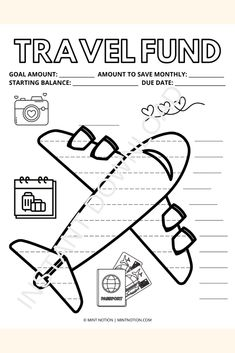 Vacation savings tracker printable. This cute travel fund printable can help you save up for your next trip. Whether you want to go on a weekend adventure, a week-long vacation, or backpack across Europe, this savings tracker can help you get there. Having a visual tracker is so helpful and it's a fun way to track your progress. Hang it up on your wall or fridge and watch your savings grow! Weekly Meal Plan Template, Monthly Budget Template, Savings Challenge, Money Challenge, Vacation Savings, Travel Fund, Sinking Funds, Life On A Budget, Paying Off Student Loans