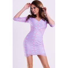 f9d2e8b06e Sukienka pokryta koronką z rękawem 3 4 - lawendowa hege fioletowy lato