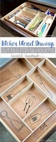 Organize your kitchen drawers and keep them organized with these fun kitchen utensil drawings. Includes free cut file for vinyl decals. housefulofhandmade.com | Silhouette Cameo | Vinyl Decal | Free Silhouette File | Kitchen Drawer Organization | Kitchen