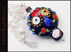 $67  Dia de los Muertos Necklace - Handmade lampwork art beads, jewelry & supplies by Bastille Bleu Lampwork