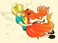 finn Angel and flama demon Cartoon Network Shows, Flame Princess, Adventure Time Finn, Disney Characters, Fictional Characters, Cartoons, Angel, Fan Art, Ship