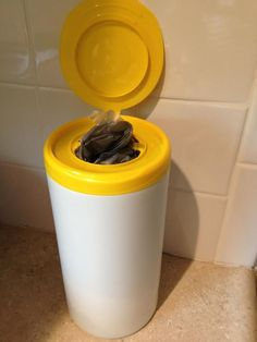 Quick Tip: Use an old wipes container to hold plastic grocery bags! Small enough to fit under the sink. Great idea for camping. More