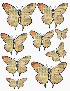 How to make vintage-style paper butterflies - Give Details Free Digital Scrapbooking, Butterfly Crafts, Butterfly Art, Butterfly Mobile, Paper Art, Paper Crafts, Illustrations Vintage, Paper Butterflies, Diy Flowers