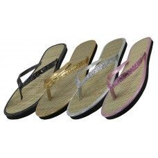 17795db1f85 Glitter Thong with Straw insole Womens Flip Flops