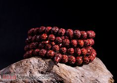 108pcs lobular red sandalwood lotus beads bracelet