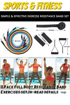 11 Pack Full Body Resistance Band Exercises set,Including 5 Stackable Exercise Bands with Door Anchor,2 Foam Handle,2 Metal Foot Ring and Carrying Case - Home Workouts,Physical Therapy,Gym Training,Yoga Exercise Bands, Resistance Band Exercises, Gym Training, Physical Therapy, Full Body, At Home Workouts, Anchor, Physics, Packing
